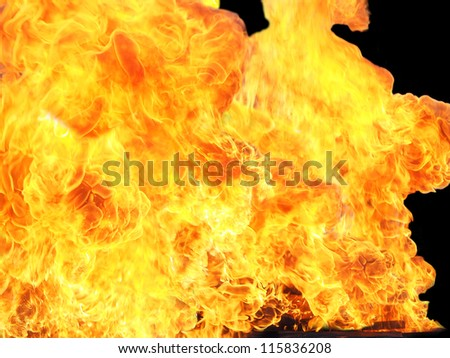 fire isolated on black - stock photo
