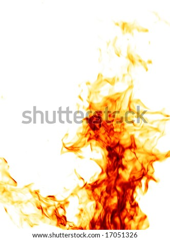 Fire isolated on white - stock photo
