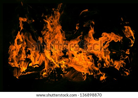 fire isolated over black background - stock photo