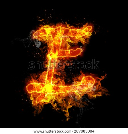 Fire letter E isolated on black background - stock photo