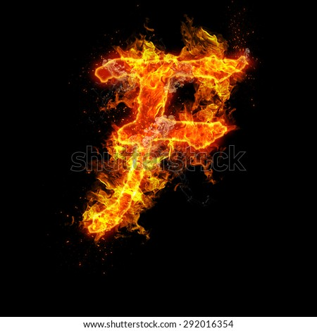 Fire letter F isolated on black background