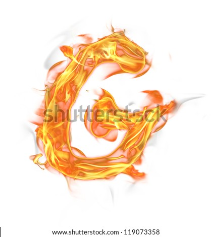 "Fire letter ""G"" isolated on white background - stock photo"