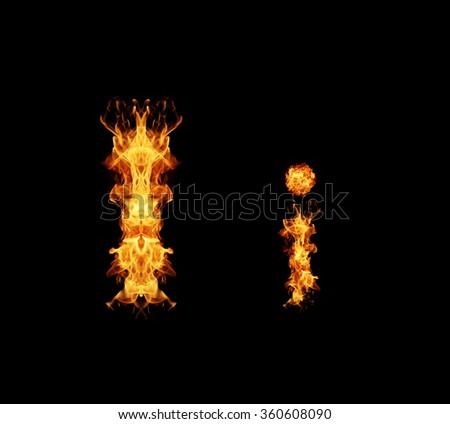 Fire letter I. - stock photo