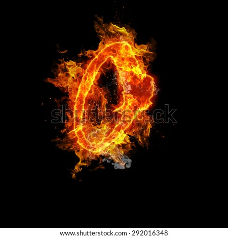 Fire letter O isolated on black background