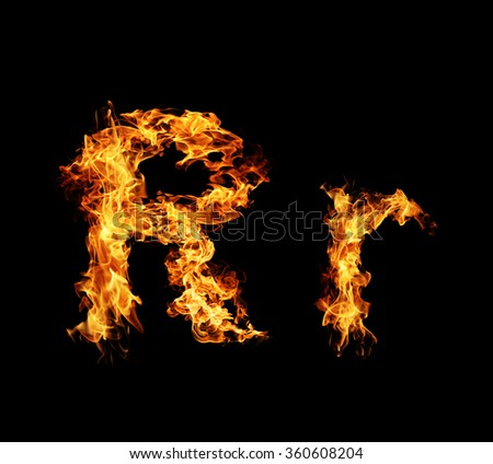 Fire letter R. - stock photo