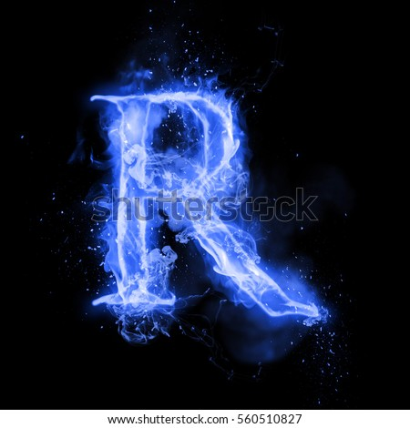 R Letter In Blue Fire Flaming Letters Stock ...