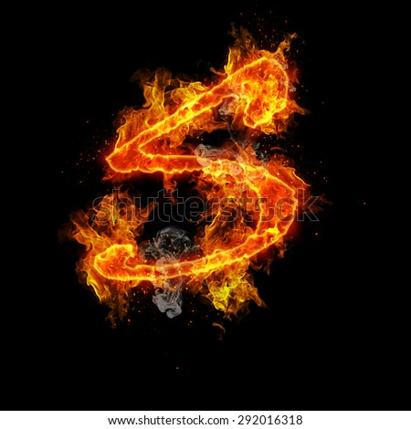 Fire letter S isolated on black background