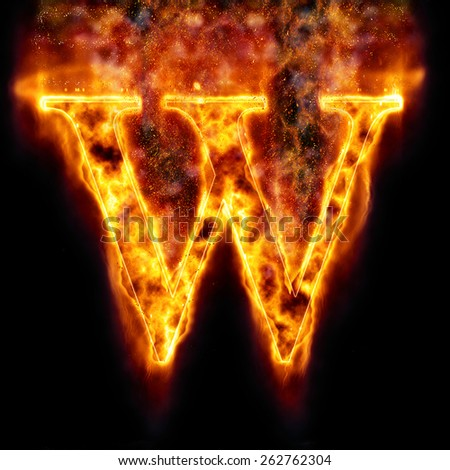 Fire Letter W - stock photo