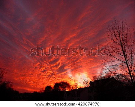 Fire-like clouds during sunset