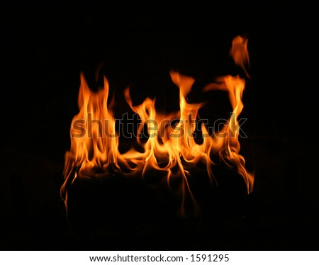 fire log flame - stock photo