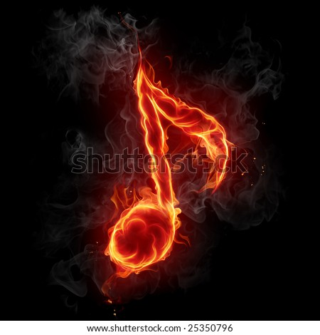 Fire note symbol - Series of fiery illustrations - stock photo