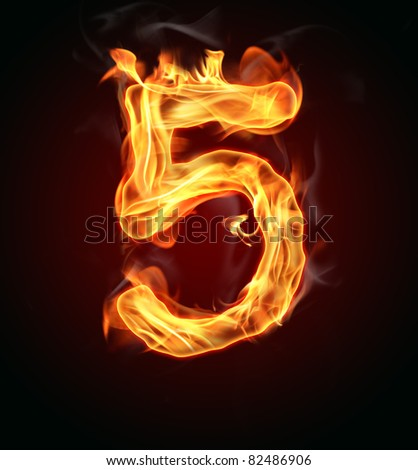 "Fire number ""5"" - stock photo"