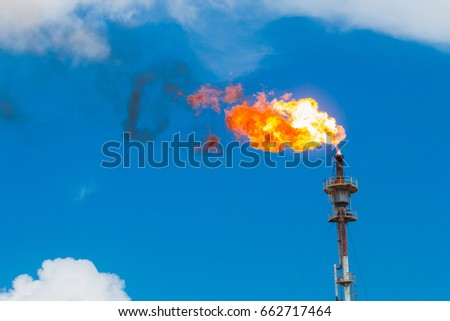Fire of gas burning from flare structure in oil refinery plant with blue sky