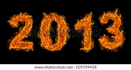 Fire of 2013 on black background - stock photo