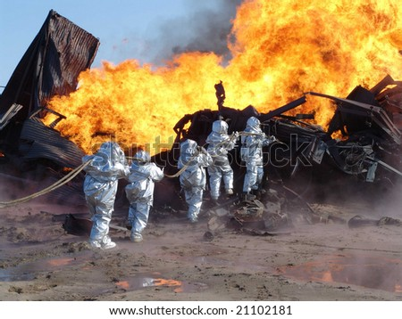 fire on an oil well - stock photo