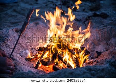 fire on beach - stock photo