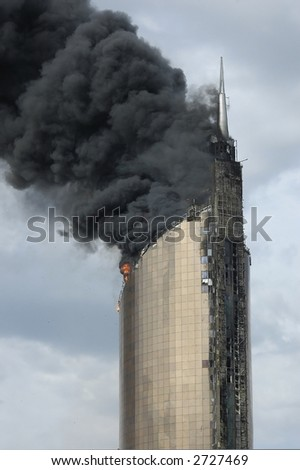 fire on high-altitude building
