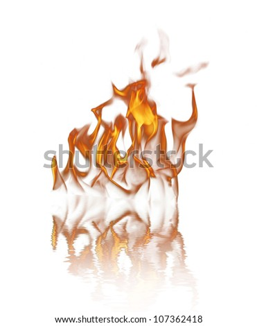Fire over white background - stock photo