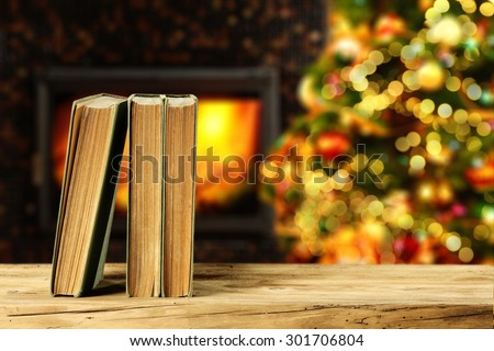 fire place and xmas tree  - stock photo