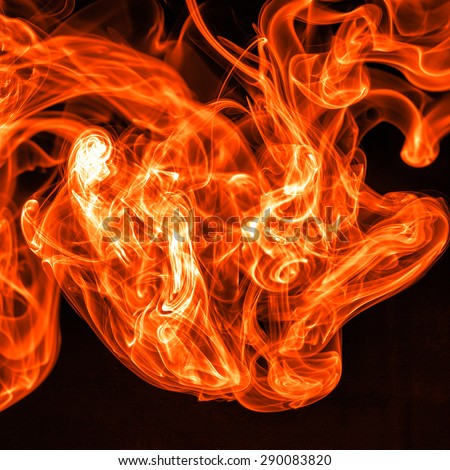 Fire Red abstract smoke design on black background - stock photo