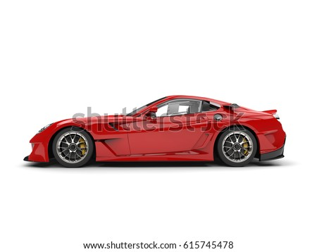 Fire Red Modern Fast Sports Car   Side View   3D Render