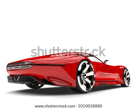 Fire Red Modern Super Sports Car   Tail View   3D Illustration