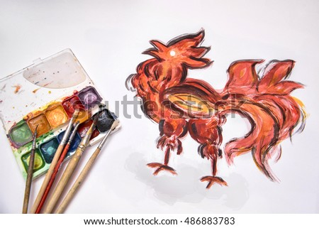 Fire rooster. Symbol of new year 2017. Chinese zodiac year of rooster, wich paited with brushes and watercolor on white background