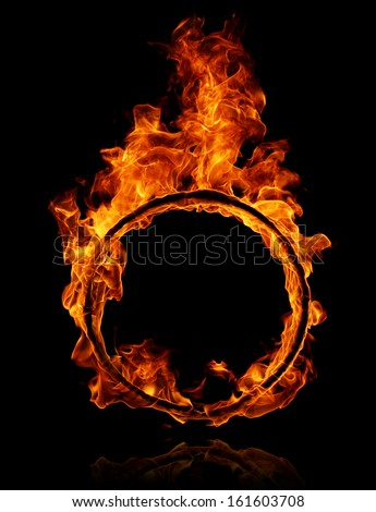 Fire round frame  - stock photo