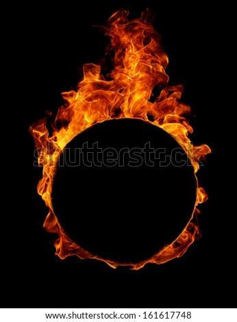 Fire round frame in black - stock photo