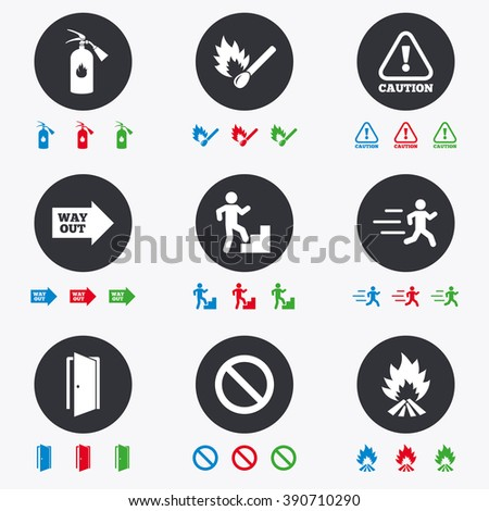 Fire safety, emergency icons. Fire extinguisher, exit and attention signs. Caution, water drop and way out symbols. Flat circle buttons with icons.