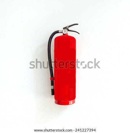 Fire safety on white wall background. - stock photo