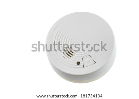 Fire safety with a smoke detector (isolated on white) - stock photo