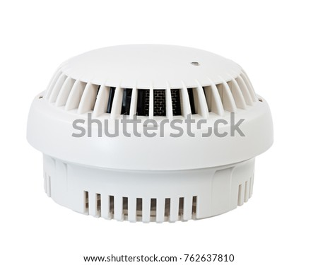 Fire safety with a smoke detector (isolated on white)
