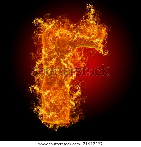 Fire small letter R on a black background - stock photo