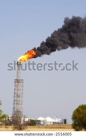 Fire smoke chimney pollution - stock photo
