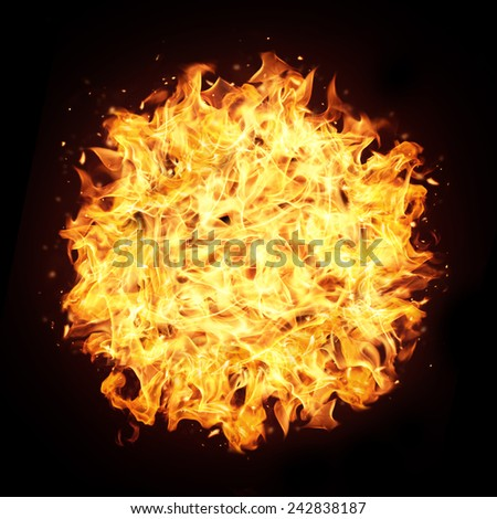 Fire sphere with free space for text. isolated on black background