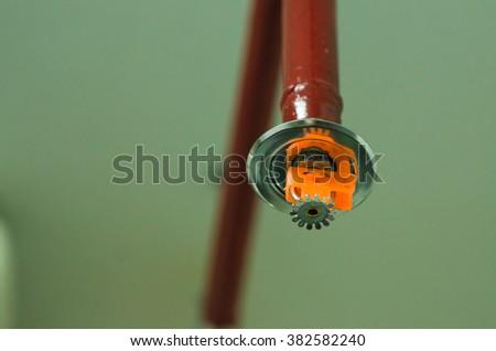 Fire sprinkler,Orange sprinkler (vintage tone) - stock photo