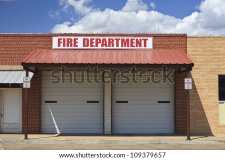 Fire station in Roaring Springs, TX, USA.