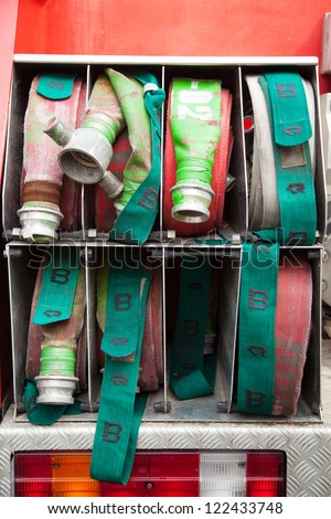 Fire tire cord. Coils are mounted in the truck. - stock photo