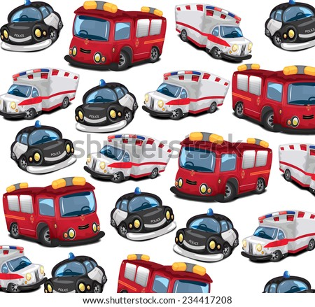 Fire Truck,Ambulance and Police car pattern.