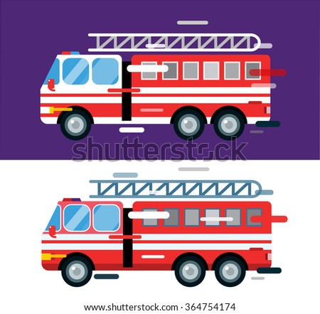 Fire truck car isolated. Fire truck cartoon silhouette. Fire truck mobile fast emergency service. Fire truck fast moving. Fire truck illustration.Vector rescue fire truck. Emergency truck - stock photo