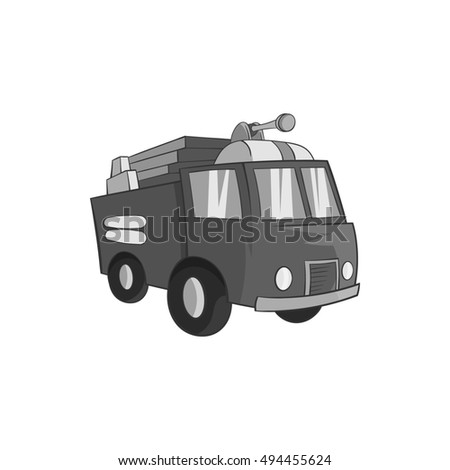 Fire truck icon in black monochrome style isolated on white background. Transport symbol  illustration