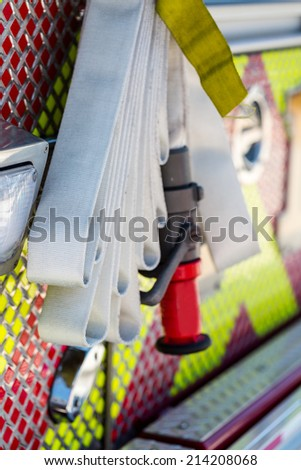 Fire truck parked in urban area. - stock photo