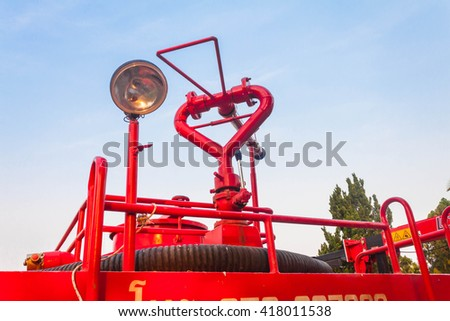 Fire truck ready for deployment - stock photo