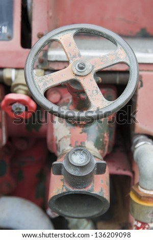 Fire truck water tap - stock photo