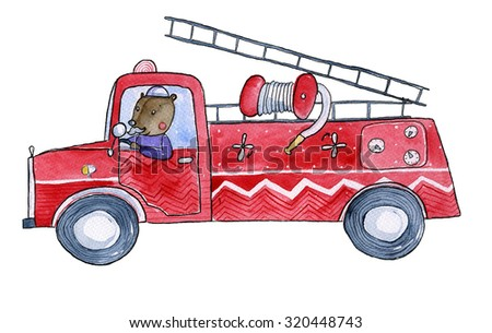 Fire truck Watercolor illustration