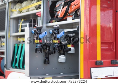 Fire truck with equipment.