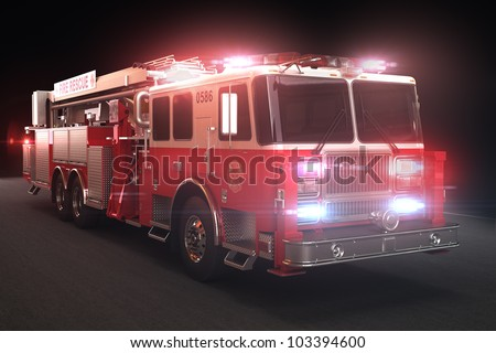 Fire truck with lights, Part of a first responder series. - stock photo