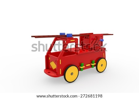 Fire truck - Wooden  toys - stock photo