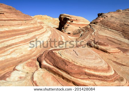 Fire Wave, rock formation in the Valley of Fire state park, Nevada, USA - stock photo
